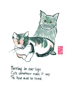 This makes a sweet print for a cat lover who understands the magical bond between humans and their feline companions.