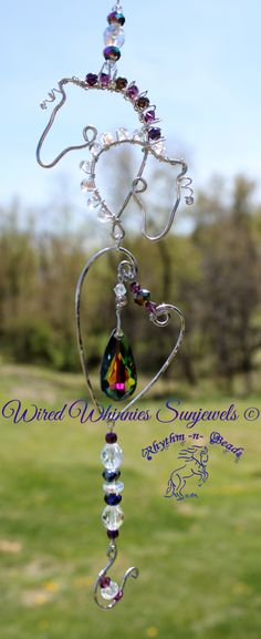 www.facebook.com/rhythmbeads Wired Whinnies Sunjewels ~ by Rhythm-n-Beads© are whimsical copper wire horse Suncatchers....lovingly hand fashioned from copper wire and accented with beads & charms. Hang your 'wired whinnies' ... * in a window *from a rear view mirror * from a lamp * in the tack room * on the Christmas tree or a wreath during the holidays, or......the possibilities are endless :) Wire Horse Suncatchers, Rearview Mirror Dangles, Horse Ornaments