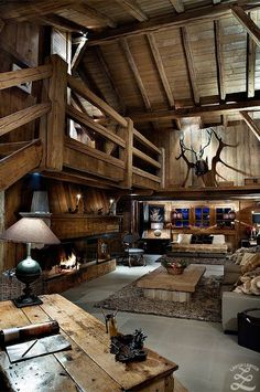 World of Architecture: 30 Rustic Chalet Interior Design Ideas Cabin Interiors, Rustic Interiors, Chalet Interior, Interior Design, Interior Ideas, Luxury Interior, Modern Interior, Log Cabin Homes, Log Cabins