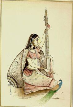 Indian miniature art - Lady with the peacock. Mughal Paintings, Indian Art Paintings, Krishna Painting, Krishna Art, Nayanthara Hairstyle, Rajasthani Painting, Paint Fabric, Glass Painting Designs, India Art