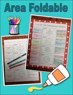 Included is a foldable on area.  Students love these type of activities because they are hands on.  Students will be asked for the area formula for a triangle, square, rectangle, parallelogram, rhombus, and trapezoid.  In addition, students will be given four figures and need to name the figures (isosceles triangle, parallelogram, trapezoid, and hexagon).