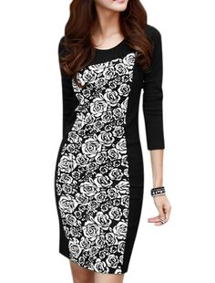 Allegra K Women's Round Neck Long Sleeves Floral Prints Sheath Dress Black (Size S / 4)