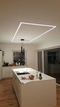Home Design Diy, Interior Design Images, Home Building Design, Küchen Design, Wall Design, House Design, Led Shelf Lighting, Linear Lighting, Lighting Design