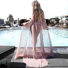 Kaftan Anorak Swimsuit Long-Cover-Up Beach-Dress Black Apparent Robe Bikinis Chiffon Womens Cover Up Summer Bikini Cover Up, Bikini Beach, Bandeau Swimsuit, Dress With Cardigan, Kimono Cardigan, Kaftan, See Through Bikini, Bathing Suit Dress, Kimono