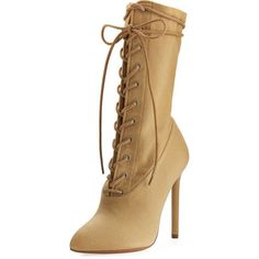 Yeezy Stretch-Canvas Lace-Up Boot ($750) ❤ liked on Polyvore featuring shoes, boots, ankle booties, beige, shoes boots, beige lace up boots, laced booties, canvas lace up boots, lace up boots and laced boots
