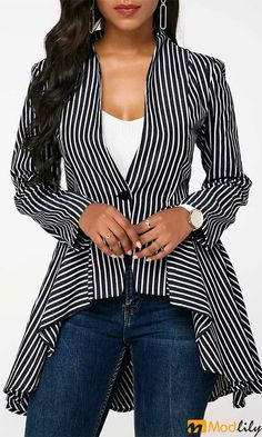 Black And White Striped One Button Blazer Asymmetric Hem Vertical Stripe Print Blazer - Women Blazer Jackets - Ideas of Women Blazer Jackets Casual Outfits, Fashion Outfits, Womens Fashion, Fashion Trends, Fashion Coat, Blazer Fashion, Casual Blazer, Blazer Outfits, Blazer Dress