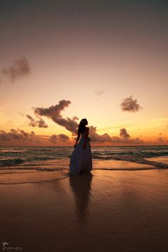 Inspiring ocean sunset and a bride #inspiration #serenity #beach #honeymoon Click the picture to see the whole photoshoot!