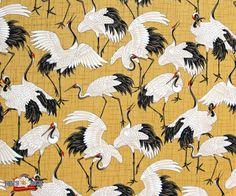 Curtains- Crane Dynasty Standing Cranes Tan Oriental Fabric, Kona Bay