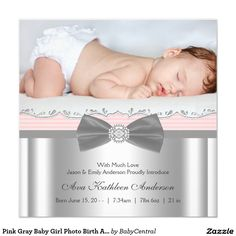 Pink Gray Baby Girl Photo Birth Announcement