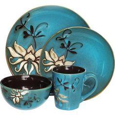 American Atelier Mirabel Blue 16-Piece Dinnerware Set