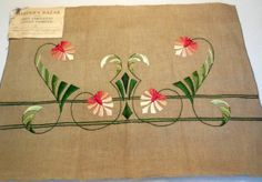 Arts and Crafts embroidered pillow cover -- Arts and Crafts textiles and embroidery