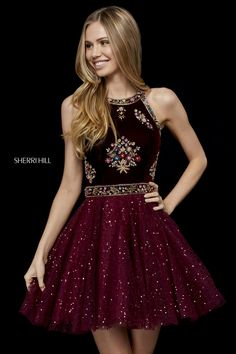 We are loving this fascinating homecoming dress 52263 by Sherri Hill. This dress showcases a high halter neckline. This dazzling dress offers intricate . Unique Dresses, Trendy Dresses, Cute Dresses, Beautiful Dresses, Formal Dresses, Sherri Hill Short Dresses, Sherri Hill Homecoming Dresses, Dress Prom, Mode Outfits