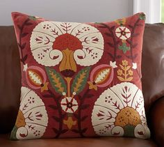"""Eloise Crewel Embroidered Pillow Cover - 24""""   Pottery Barn"""