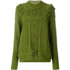 Essentiel Antwerp embroidered Ostille jumper (17645 RSD) ❤ liked on Polyvore featuring tops, sweaters, green, green top, jumper tops, jumpers sweaters, green sweater and embroidered jumper