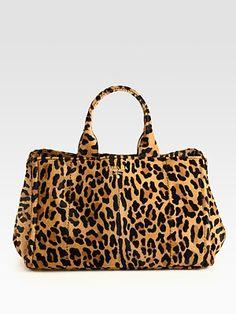 Prada Cavallino Leopard-Print Haircalf Tote