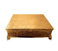 """Tabletop Classics ACG-87718 Ornate Gold Plated Square Cake Stand - 18"""""""