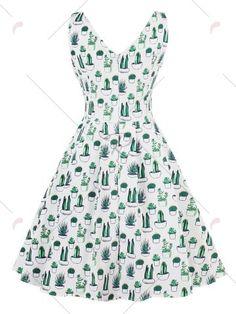 Vintage V Neck Cactus Print Pin Up Skater Dress