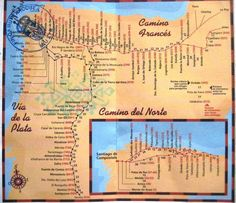 Camino de Santiago or Way of Saint James: series of old pilgrimage routes thru Europe w Santiago de Compostela in NW Spain as destination. Main route, Camino Francés, frm St Jean Pied-de-Port to Santiago de Comp, abt 790 km. Saint James, Bryce Canyon, Canyon Utah, Pamplona, Camino Routes, Road Routes, Camino Walk, France Map, Spain And Portugal