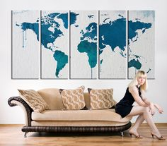 Canvas Art Print, Turquoise Blue World Map Art, Extra Large Watercolor World Map Print for Home and Office Wall Decoration