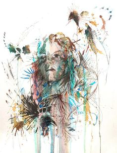 Female portraits with Ink, Tea and Alcohol