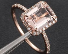 14K Gold  6x8mm Emerald Cut Morganite Ring  Pave Diamond Engagement Ring Wedding Ring
