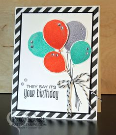 Balloon birthday card idea featuring Stampin' Up! Balloon Celebration and Suite Sayings stamp set with bright color combo