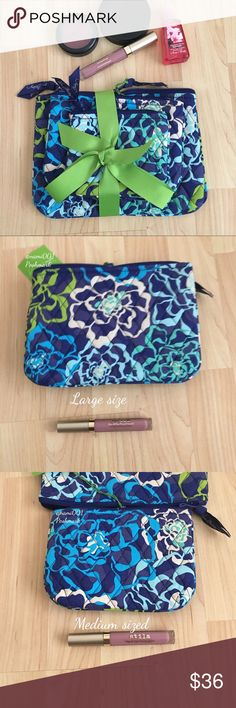 """Vera Bradley Cosmetic Makeup Bag Pouch Bundle For the girl who likes to keep the inside of her handbags organized this is for you. From Vera Bradley is a trio of makeup cosmetic bags pouches. Perfect gift for the girl who loves cosmetic bags. The small one measures: 5"""" x 4"""". Medium sized: 7"""" x 5"""". Large sized: 9"""" x 6.5"""". Pretty blue , green and white patterns. Trades Vera Bradley Bags Cosmetic Bags & Cases"""