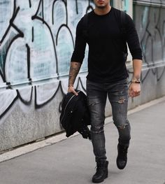 Black long sleeve and #distressed jeans by @philippegazarstyle [ http://ift.tt/1f8LY65 ]