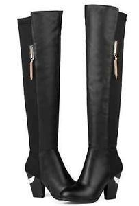 Womens Ladies Elegant Leather Black Stretchy Over Knee Riding Boots Shoes 2000-3