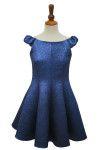 Brilliant Blue Cloque Panel Dress