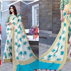 Indian linen Saree unstitch Blouse Bollywood Tussles Pallu Print Blouse Eid sari #Handmade #SareeBlouse Modern Saree, India And Pakistan, Printed Blouse, Saree Blouse, Eid, Traditional Outfits, Sarees, Bollywood, Kimono Top