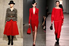 all 2012 Trend: Red  Skirts, dresses, pants, sweats—crimson is the new black this fall. While the boldest among you will want to rock the rouge head to toe, subtler dressers can get in on the trend by mixing in one red garment with more neutral pieces for a pretty pop of color.  L-R: Steven Alan, Donna Karan, Marc by Marc Jacobs Fall 2012's Most Wearable Fashion Trends  by Danica Lo