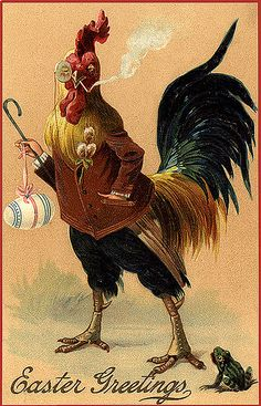 Vintage Easter Postcard-Mr. Smoking Rooster! I so luck my chickens!!!