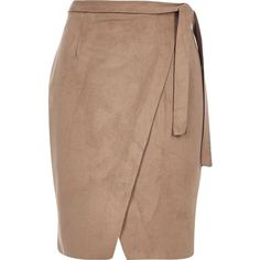River Island Brown faux suede tie waist skirt ($70) ❤ liked on Polyvore featuring skirts, brown, tube / pencil skirts, women, waist belt, knee length pencil skirt, brown knee length skirt, tie wrap skirt and beige skirt