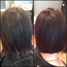 Before & after hair color with balayage red lights #creativelayers #hair #fallhair #goldwell #Charlotte #southend #womenshair