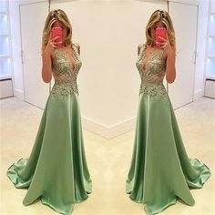 Long Popular Deep V-neck A-line Stunning Sexy Cocktail Ball Gown Party Prom Dress The long stunning prom dress is fully lined, 4 bones in the bodice, chest pad in the bust, lace up back or zipper back