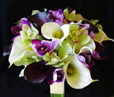 Natural Touch Off White, Green and Purple Calla Lilies and Orchids Bouquet