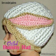 Free Crochet Pattern - Child Bunny Hat