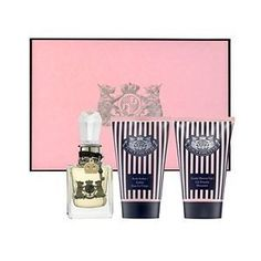 Juicy Couture Gift Set - 3 Piece Set by Elizabeth Arden. $89.95. * .5 oz. Juicy Couture Eau de Parfum Spray. * 1.7 oz. Juicy Couture Frothy Shower Gel. * Gift boxed 3-piece set. * 1.7 oz. Juicy Couture Body Sorbet. This gorgeous Juicy Couture 3-Piece Gift Set includes a .5 oz. Eau de Parfum Spray, a 1.7 oz. Frothy Shower Gel and a 1.7 oz. Body Sorbet. Boxed in a brown and pink striped Juicy Couture gift box.