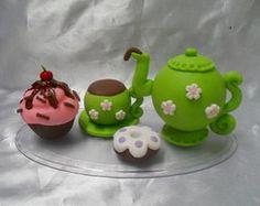 Topo De Bolo Chá De Cozinha verde