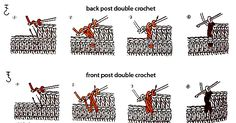 How to Make Front Post and Back Post Double Crochet Stitches | Beautiful Crochet Stuff