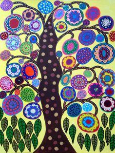 Yellow Tree of Life Mexican Folk Art Flower Curly tree #wood#dekorative#curly,flourish,crisp,wood