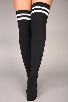Sole Mate Over The Knee Socks – Black – fashion nova outfits Black Thigh High Socks, Thigh High Boots Heels, Black Socks, Heel Boots, Striped Knee High Socks, High Socks Outfits, Knee High Socks Outfit, Dope Outfits, Cute Stockings