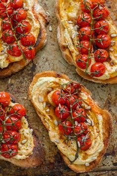 25 minutes · Vegetarian · Makes 2 · Crusty sourdough toast topped generously with silky hummus and jewels of sweet balsamic roasted tomatoes. The perfect breakfast, brunch or lunch! Hummus, Aperitivos Vegan, Vegetarian Recipes, Cooking Recipes, Pork Recipes, Yummy Recipes, Cooking Tips, Salad Recipes, Gourmet