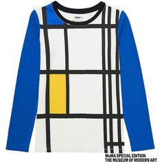 UNIQLO SPRZ NY Long Sleeve T-Shirt (Piet Mondrian) ($20) ❤ liked on Polyvore featuring tops, t-shirts, white, color block tee, uniqlo t-shirts, cotton long sleeve t shirts, white tee and white cotton tee