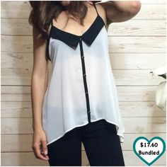 White Chiffon Top Closet fav! Really cute and elegant looking top. Lightweight. Sheer. No flaws. Something I bought but just never wear. •This item is available! ANGL Tops Tank Tops