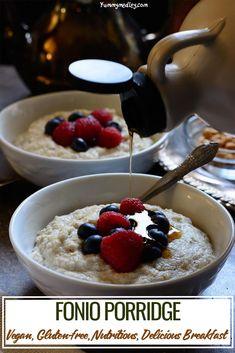 Fonio Cereal/Acha Pudding: the African Super Grain Porridge Fonio is a drought resistant, gluten-free, nutritious (cystine and methionine lo. Porridge Recipes, Pudding Recipes, Porridge Food, Breakfast Porridge, Breakfast Cereal, Paleo Breakfast, Gourmet Recipes, Vegan Recipes, Gastronomia