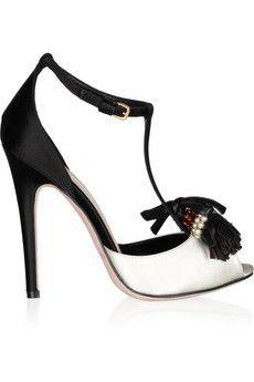 Giambattista Valli  Embellished satin peep-toe sandals