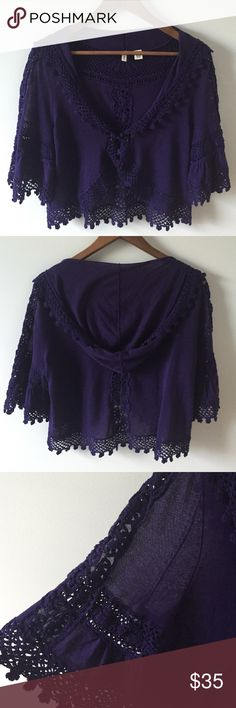 Anthro/Moth sweater Deep purple sweater by Moth sold at Anthropologie. Pretty bell sleeves, hoodie and front closure. Excellent condition. Size Medium. Anthropologie Sweaters
