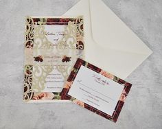 Giant red roses and peonies make a great color contrasting combination perfect for fall. This unique floral combination is the perfect duo for an eye catching design encased in a champagne glitter laser cut gatefold pocket.  << Please note the minimum order is 50 and ships 3-4 weeks>>  <<Invitation